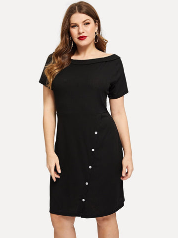 Black Boat Neck Plus Button Decoration Knit Dress