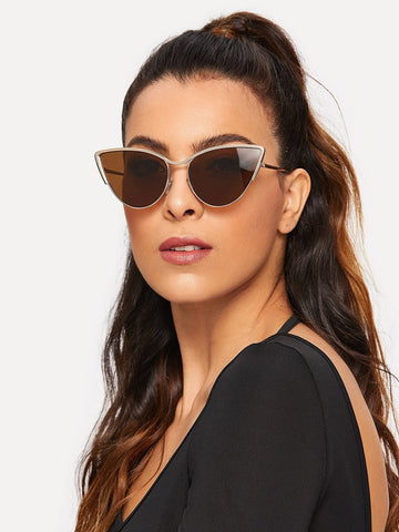 Brown Metal Frame Cat Eye Sunglasses
