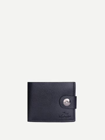Pu Leather Black Magnetic Button Fold Over Wallet