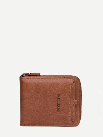 Brown PU Leather Zip Around Solid Wallet