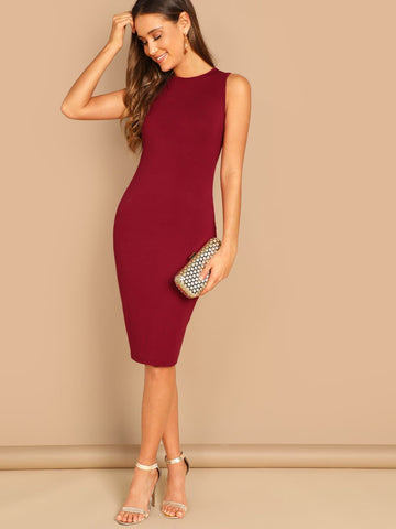 Sleeveless Round Neck Solid Jersey Knit Pencil Dress