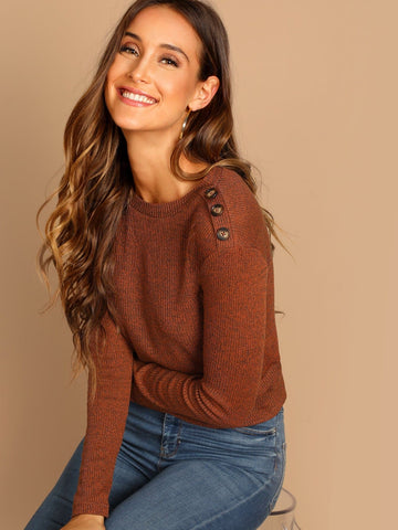 Brown Long Sleeve Boat Neck Button Shoulder Ribbed Knit Tee Top