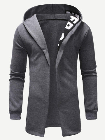 Grey Long Sleeve Letter Print Open Front Hoodie