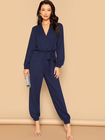 Navy Blue V-Neck  Surplice Wrap Plunging Belted Jumpsuit