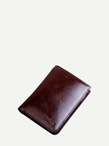 PU Leather Brown Minimalist Fold Over Wallet