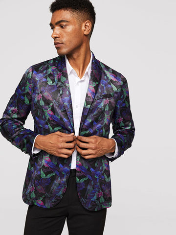 Regular Fit Single Button Bird & Tree Print Satin Blazer