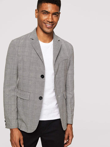Grey Regular Fit Single Breasted Glen Plaid Blazer