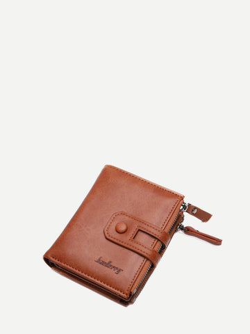 PU Leather Brown Zipper Decor Fold Over Wallet