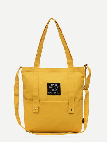 Yellow Slogan Patch Canvas Tote Bag