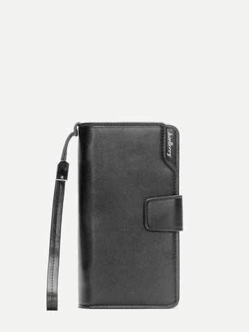Black Fold Over PU Wallet With Wristlet
