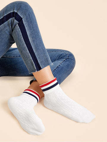White Cotton Striped Pattern Socks 1pairs