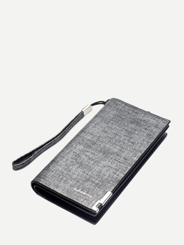 PU Leather Grey Zip Around Wallet With Card Holder