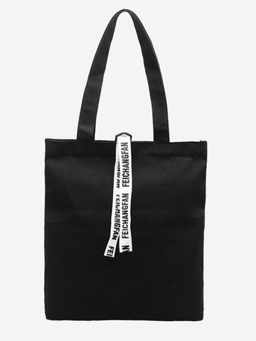 Black Double Handle Slogan Ribbon Decor Canvas Tote Bag