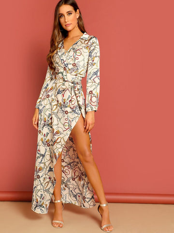 V-Neck High Waist Chain Print Split Surplice Maxi Shirt Dress