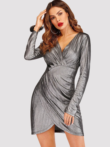 Grey V-Neck High Waist Tulip Hem Metallic Dress