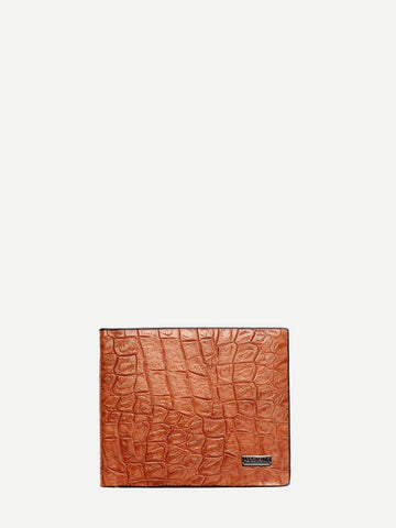 PU Leather Croc Embossed Fold Over Wallet