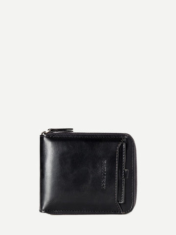 PU Leather Black Solid Fold Over Wallet