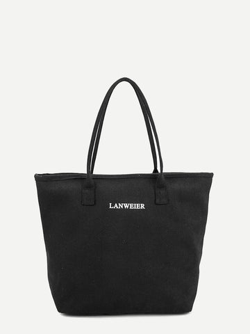 Black Double Handle Winged Canvas Tote Bag