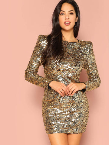 Gold Round Neck Shoulder Padded Swirl Sequin Bodycon Dress