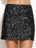 High Waist Metallic Sequin Skirt