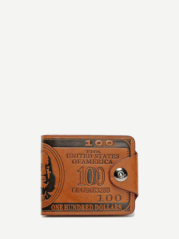 PU Leather Brown Slogan Print Fold Over Wallet