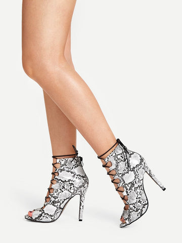 Peep Toe Snake Skin Lace-up Heels