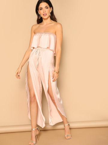 Pink Sleeveless Strapless Foldover Front Drawstring Waist Wrap Split Satin Tube Jumpsuit