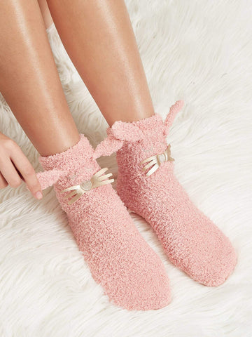 Cotton Pink Cartoon Embroidery Detail Fuzzy Socks