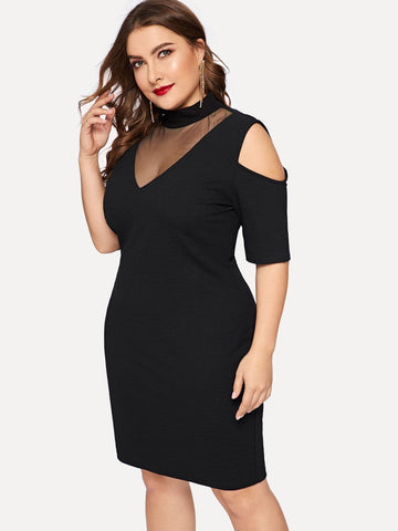 Black Stand Collar Mesh Insert Cold Shoulder Bodycon Dress