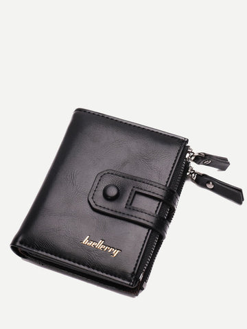 PU Leather Black Double Zip Decor Fold Over Wallet