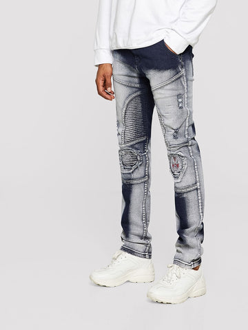 Tapered Opera Embroidery Patch Sleek Moto Jeans