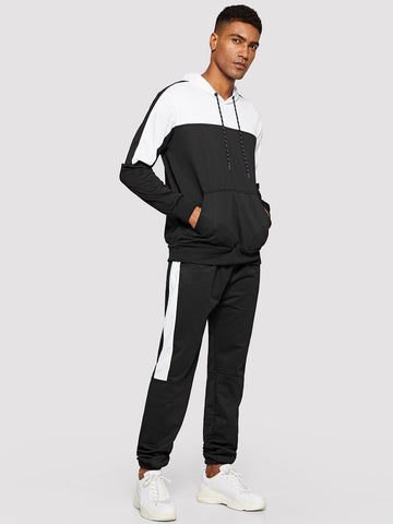 Black and White Cut And Sew Panel Drawstring Hoodie With Joggers