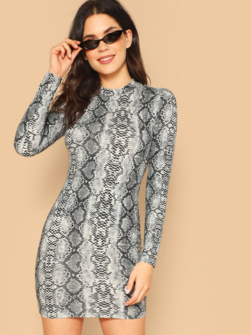 Stand Collar Mock-neck Snakeskin Bodycon Dress