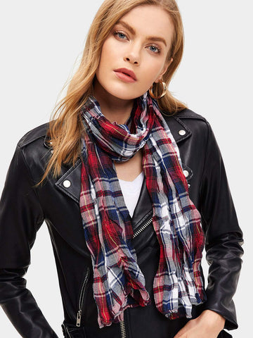 Polyester Plaid Print Scarf