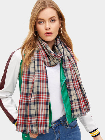 Polyester Multicolor Plaid Fringe Hem Scarf