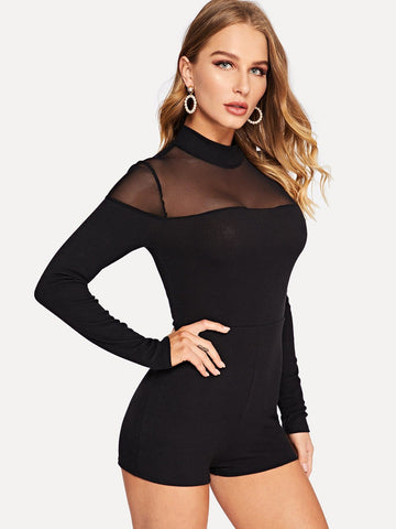 Black Stand Collar Mesh Yoke Mock-neck Fitted Romper