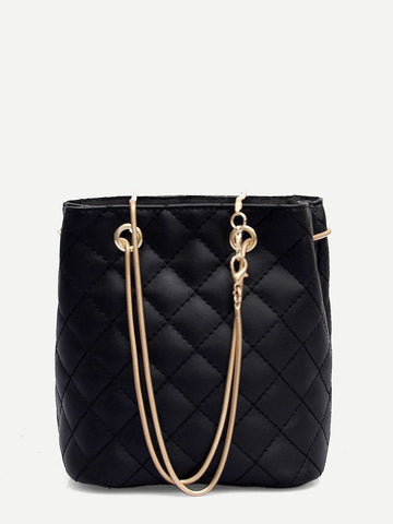 Quilted Detail Chain Black Tote Bag