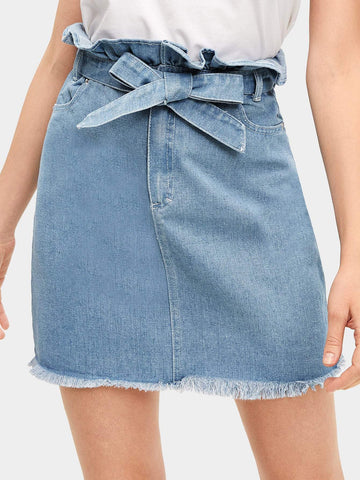 Belted Tie Waist Raw Hem Ruffle Denim Above Knee Short Skirt