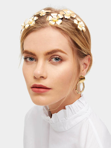 Gold Polyester Metal Flower Decorated Headband