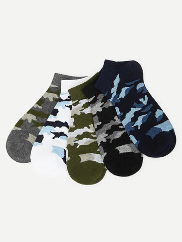 Cotton Camouflager Ankle Socks 5pairs