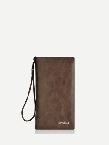 PU Leather Brown Zip Around Wallet With Wristlet