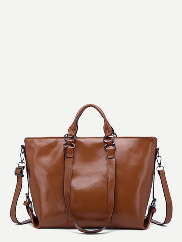 Brown Solid Tote Bag With Adjustable Strap