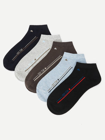 Letter & Strip Pattern Ankle Socks 5pairs