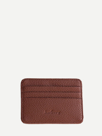 PU Leather Coffee Textured Detail Solid Wallet