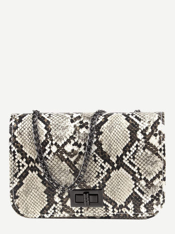 Snake Print Twist Lock Chain Bag