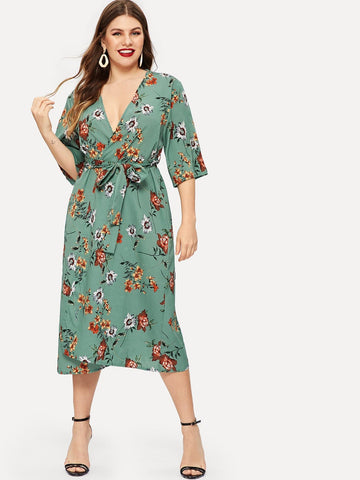 Green Polyester Plus Floral Print Self-tie Wrap Chiffon Dress