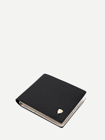 PU Leather Black Fold Over Wallet With Card Slot