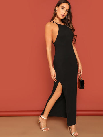 Black Spaghetti Strap Sleeveless Crisscross Backless Slit Strappy Dress
