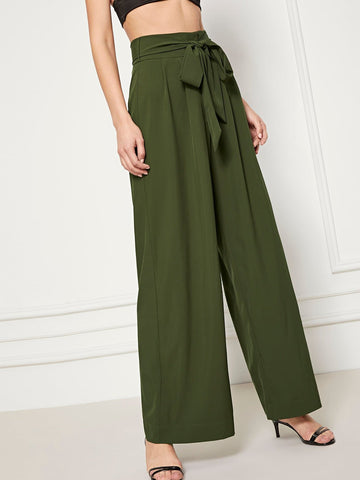 Army Green Polyester Waist Belted Wide Leg Pants