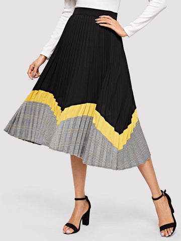 Black Flared Color-block Pleated Skirt